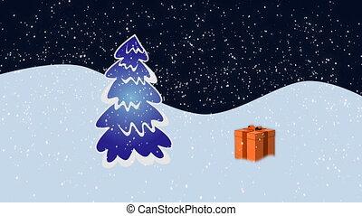 Gift fall - Christmas presents falling over fir-tree