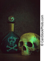 gift, flasche, totenschädel