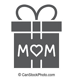 Gift for mom glyph icon, present and holiday, mom gift box sign, vector graphics, a solid pattern on a white background.