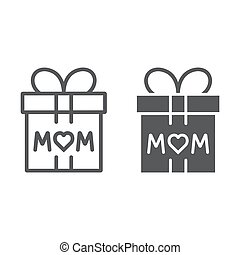 Gift for mom line and glyph icon, present and holiday, mom gift box sign, vector graphics, a linear pattern on a white background.