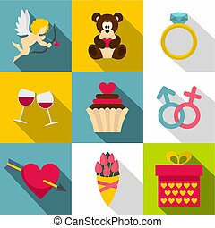 Gift for Valentine day icon set, flat style