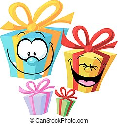 Gift - funny vector illustration