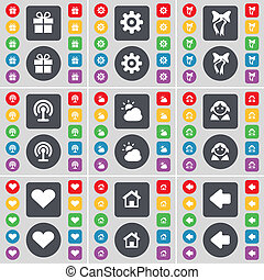 Gift, Gear, Bow, Wi-Fi, Cloud, Avatar, Heart, House, Arrow left icon symbol. A large set of flat, colored buttons for your design.