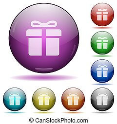 Gift glass sphere buttons - Set of color gift box glass...