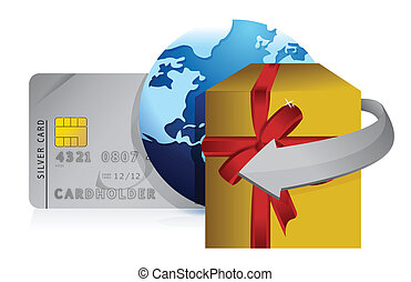 gift, globe and credit card retail concepts