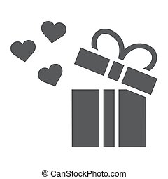 Gift glyph icon, love and package, gift box with hearts sign, vector graphics, a solid pattern on a white background.