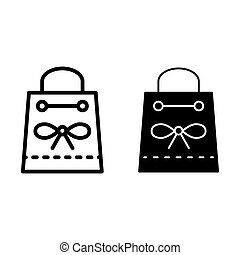 Gift handbag with a bow line and glyph icon. Present vector illustration isolated on white. Gift package outline style design, designed for web and app. Eps 10.