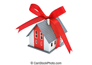 Gift house with red ribbon