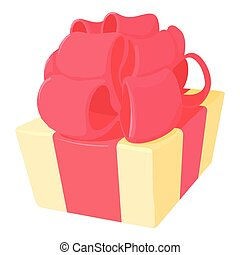 Gift icon, cartoon style