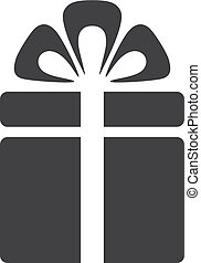 Gift icon in black on a white background. Vector illustration
