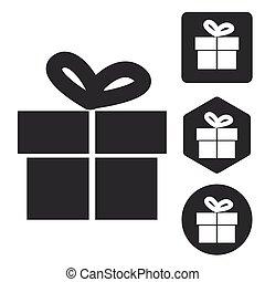 Gift icon set, monochrome