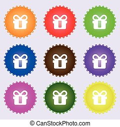 gift icon sign. A set of nine different colored labels. Vector