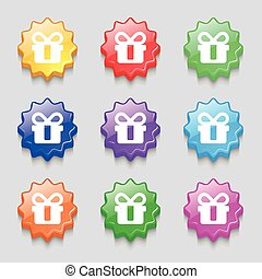 gift icon sign. symbol on nine wavy colourful buttons. Vector