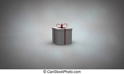 Gift 3d illustration revealing video of happy woman getting present from partner