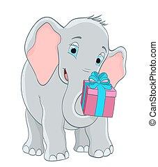 gift., ilustração, vetorial, elefante, bebê, caricatura