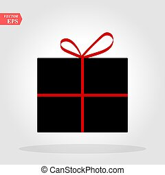 Gift in a black box with a red bow on a white background vector