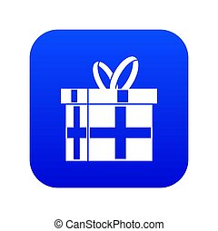 Gift in a box icon digital blue