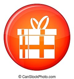 Gift in a box icon, flat style