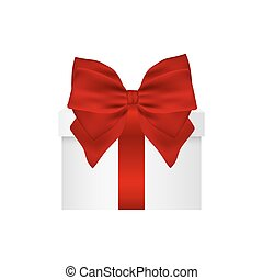 Gift in a box with  red bow on  white background
