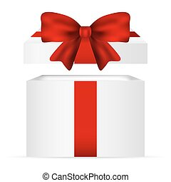 Gift in a box with  red bow on  white background vector