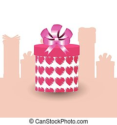 gift in box with hearts. in the form of a tube