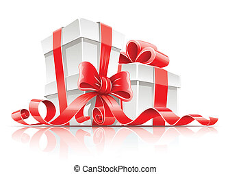gift in box with red ribbon and bow vector illustration isolated on white background