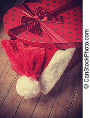 gift in christmas hat