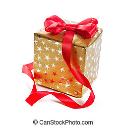 Gift in gold box with a red bow. Isolate on white background