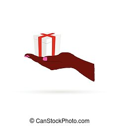 gift in hand color vector