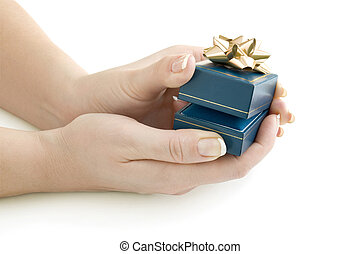 gift in hands isolated on white