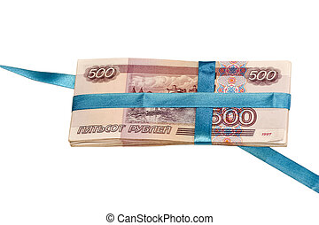 gift in money - Pack of russian roubles are tied up by a...