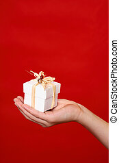Gift in palm of hand - A wrapped and decorated giftbox in ...