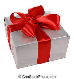 Gift in silver wrapping