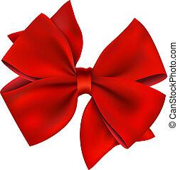 &, gift., isolado, arco, fita, branco vermelho