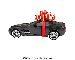 Gift isolated black car side view