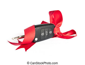 Gift key concept with red Bow and space for text - Gift key...
