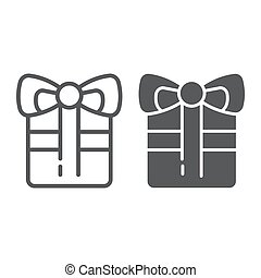 Gift line and glyph icon, celebration and package, present sign, vector graphics, a linear pattern on a white background.