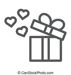 Gift line icon, love and package, gift box with hearts sign, vector graphics, a linear pattern on a white background.