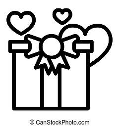Gift line icon. Present vector illustration isolated on white. Package outline style design, designed for web and app. Eps 10.