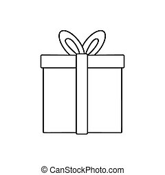 Gift line icon, thin contour on white background