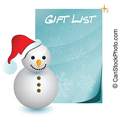 gift list with snowman illustration