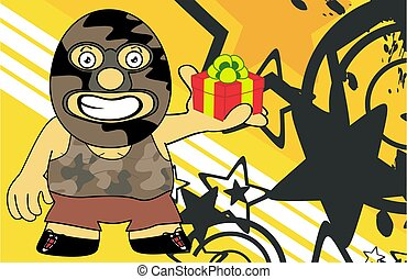 gift mexican wrestler cartoon expression background - funny...