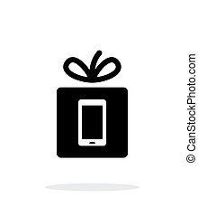 Gift mobile phone icon on white background.