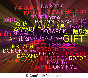 Gift multilanguage wordcloud background concept glowing -...