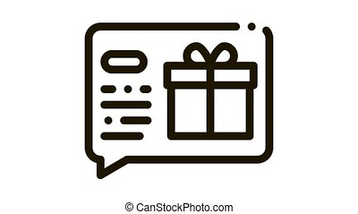 Gift Notification Message Icon Animation. black Gift Notification Message animated icon on white background