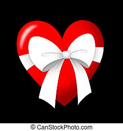 Gift of Love - Heart gift with white ribbon.