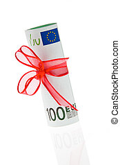 Euro bank note - Gift of money. Euro bank note.
