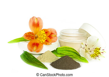 gift of spa clay and soaps with flower isolated on white.