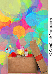 Gift on a bokeh of colourful party lights - Beautiful paper...