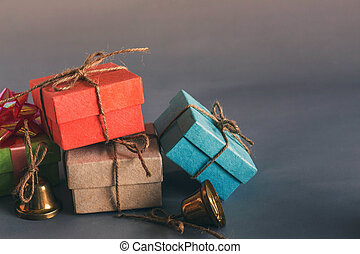 Gift on a gray background.